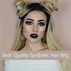 billiga Perukfest-Syntetiska peruker Dam Kroppsvågor Syntetiskt hår Ombre-hår / Mörka hårrötter / Naturlig hårlinje Peruk Lång Spetsfront Blond