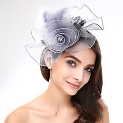 cheap Party Headpieces-Lace Feather Net Fascinators Headpiece