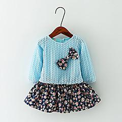billige Jenteklær-Jentas Fritid/hverdag Kjole Blomstret Bomull Vår / Høst Blå / Rosa / Gul