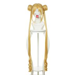billiga Peruker och hårförlängning-Syntetiska peruker / Kostymperuker Rak Blond Med lugg / Med hästsvans Syntetiskt hår Mittbena Blond Peruk Dam Lång Utan lock Gul