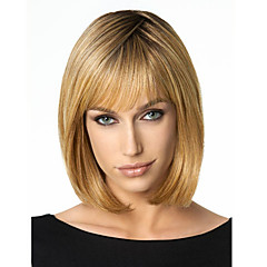 cheap Wigs & Hair Pieces-Synthetic Wig Women's Straight Brown Bob Synthetic Hair Brown Wig Short / Medium Length Dark Blonde