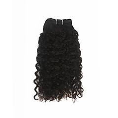 billiga Peruker och hårförlängning-Indiskt hår Lockigt / Jerry Lockigt Äkta hår Human Hår vävar Hårförlängning av äkta hår Människohår förlängningar