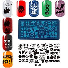 Rectangular Plate Manicure Printing Template Halloween Series