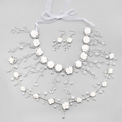 Women's Bridal Jewelry Sets Crystal Imitation Pearl Tassels Wedding Hair Jewelry Earrings Necklaces