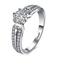 billige Motering-Dame Kubisk Zirkonium Ring - Platin Belagt, Fuskediamant Hjerte, Kjærlighed Luksus 6 / 7 / 8 / 9 Sølv Til Bryllup Fest Engasjement