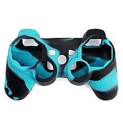 Tweekleurige siliconen beschermhoes voor PS3-controller (blauw met zwart)