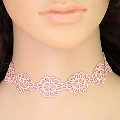Χαμηλού Κόστους Φλοράλ κοσμήματα-Γυναικεία Κολιέ Τσόκερ / Κολάρα / τατουάζ σφικτό - Δαντέλα Λουλούδι Τατουάζ, Ευρωπαϊκό, Μοντέρνα Ροζ Κολιέ Για Causal