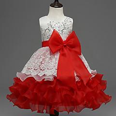 baratos Roupas de Meninas-Menina de Vestido Para Noite Estampa Colorida Verão Poliéster Sem Manga Laço Azul Roxo Fúcsia Vermelho