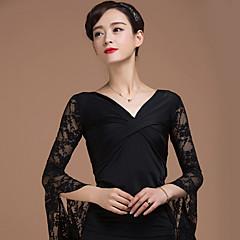 Dans de Societate Topuri Pentru femei Performanță Raion Dantelă Model Încrucișat 1 Bucată 3/4 Lungime Mânecă Natural Vârf