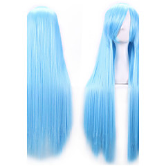 cheap Wigs & Hair Pieces-80 cm heat resistant harajuku anime cosplay wigs young long straight synthetic hair wig wigs for japanese anime Halloween