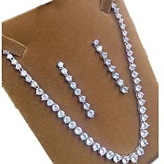 baratos Conjuntos de Bijuteria-Feminino Conjunto de Jóias Zircão Zircônia Cubica Formato Coroa Colares Brincos Para Festa Presentes de casamento