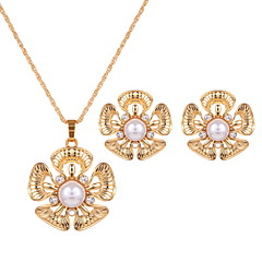 Jewelry 1 Pair of Earrings Necklaces Imitation Pearl Wedding Party Alloy Imitation Pearl 1set Women Gold Wedding Gifts