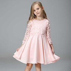 baratos Roupas de Meninas-vestido de retalhos diário da menina, rayon poliéster primavera outono 3/4 comprimento mangas rua chique