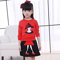 billige Tøjsæt til piger-Baby Pige Daglig / I-byen-tøj Patchwork Langærmet Normal Bomuld Tøjsæt Sort