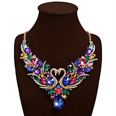 Women's Statement Necklaces Bib necklaces Animal Shape Swan Synthetic Gemstones Rhinestone Alloy Bohemian Statement Jewelry Luxury Fashion