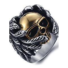 Herre uttalelse Ringe Ring Mote Titanium Stål Skjeletthode Smykker Til Halloween Daglig Avslappet