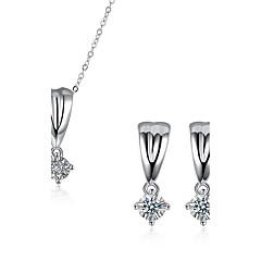 tanie Zestawy biżuterii-Damskie Cyrkonia Posrebrzany Imitacja diamentu Biżuteria Ustaw 1 Naszyjnik 1 parę kolczyków - Luksusowy Silver Na Impreza Codzienny