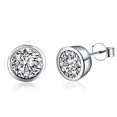 Vidali Küpeler Kübik Zirconia Bakır Gümüş Kaplama Gümüş Mücevher Için Parti Günlük 1 çift