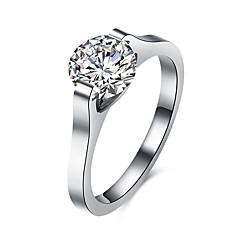 Ring Zirkonia Roestvast staal Zirkonia Titanium Staal imitatie Diamond Modieus Zilver Sieraden Dagelijks Causaal 1 stuks