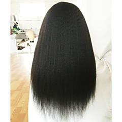 billiga Peruker och hårförlängning-Äkta hår Spetsfront Peruk Rak / Kinky Rakt 130% Densitet Naturlig hårlinje / Afro-amerikansk peruk / 100 % handbundet Dam Korta / Mellan / Lång Äkta peruker med hätta