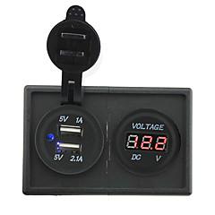 12V/24V 3.1A dual USB socket and led voltmeter with housing holder panel for car boat truck RV
