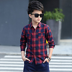 billige Overdele til drenge-Børn Drenge Ternet Langærmet Bomuld Skjorte