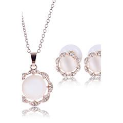 baratos Conjuntos de Bijuteria-Mulheres Conjunto de jóias - Pérola Flor Incluir Conjuntos de anéis Dourado / Prata Para Casamento Festa Diário / Colares