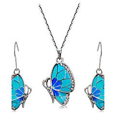 baratos Conjuntos de Bijuteria-Mulheres Cristal Conjunto de jóias - Strass Borboleta, Animal Incluir Azul Para Casamento / Festa / Diário