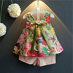 billige Tøjsæt til piger-Pige Tøjsæt Daglig Bomuld Rayon Sommer Uden ærmer Blomster Lyserød
