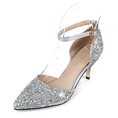 olcso -Kényelmes Újdonság-Stiletto-Női cipő-Magassarkúak-Esküvői Irodai Ruha Alkalmi Party és Estélyi-Szintetikus PU-Ezüst Arany