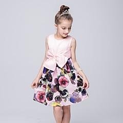 billige Pigekjoler-Pigens Kjole I-byen-tøj Patchwork, Polyester Sommer Uden ærmer Rosette Lys pink