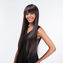 Χαμηλού Κόστους Χωρίς κάλυμμα-Ανθρώπινες περούκες περούκες μαλλιών Ίσιο Με αφέλειες Συνθετικά μαλλιά Πλευρικό μέρος Καφέ Περούκα Γυναικεία Μακρύ / πολύ μακριά Χωρίς κάλυμμα / Ίσια