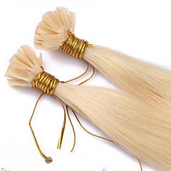 Χαμηλού Κόστους Deluxe Hair-Τούφα / Άκρη U Επεκτάσεις ανθρώπινα μαλλιών Ίσιο Εξτένσιον από Ανθρώπινη Τρίχα Φυσικά μαλλιά Γυναικεία - Blonde