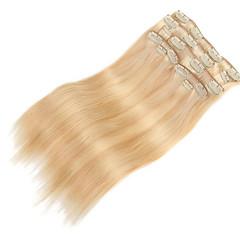preiswerte Perücken & Haar Verlängerungen-Mit Clip Haarverlängerungen Glatt Echthaar Damen Alltag
