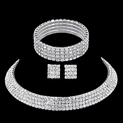 Rhinestone Costume Jewelry Rhinestone Alloy 1 Necklace 1 Pair of Earrings 1 Bracelet For Wedding Party Casual Wedding Gifts