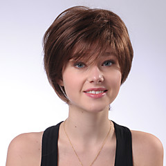 billige Lågløs-Human Hair Capless Parykker Menneskehår Lige Naturlig lige Bob frisure Med bangs / pandehår Side del Kort Maskinproduceret Paryk Dame
