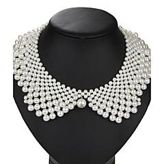 tanie Modne naszyjniki-Perła Kołnierz - Perła, Sztuczna perła damska, Vintage, Euroamerykańskie Ręcznie wykonane Biały Naszyjniki Biżuteria 1 szt. Na Ślub, Impreza, Urodziny, Codzienny, Bal maskowy, Przyjęcie zaręczynowe