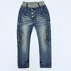 baratos Roupas de Meninos-Infantil / Bébé Para Meninos Desenho Diário Sólido Algodão Jeans Azul 140