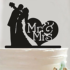 cheap Cake Toppers-Acrylic Mr & Mrs Heart Cake Topper Non-personalized Acrylic Wedding / Anniversary / Bridal Shower  14.5*14cm