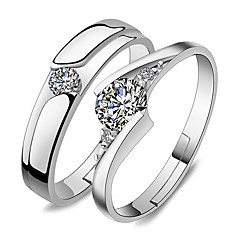 cheap Rings-Ring Wedding Party Special Occasion Jewelry Platinum Plated Couple Rings 1 pair Adjustable Silver