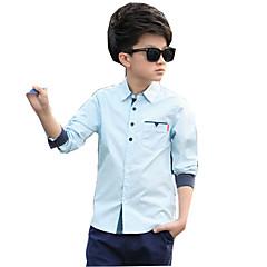 billige Overdele til drenge-Drenge Daglig Ensfarvet Skjorte, Bomuld Rayon Forår Sommer Langærmet Hvid Lyserød Lyseblå