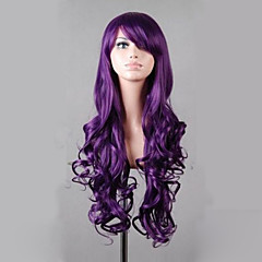 cheap Wigs & Hair Pieces-synthetic lolita 80cm long purple wavy women s costume wig cosplay full wig Halloween