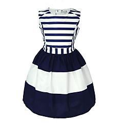 baratos Roupas de Meninas-Infantil Bébé Para Meninas Doce Feriado Azul e Branco Listrado Sem Manga Vestido