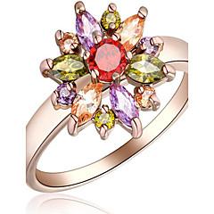 billige Motering-Dame Ring - Rose gull, Zirkonium, Legering Blomst 6 / 7 / 8 Hvit / Rose Til Fest Spesiell Leilighet Daglig