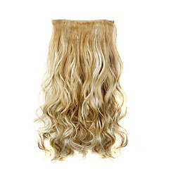preiswerte Synthetische Haarverlängerungen-22 Zoll Haar-Verlängerung Klassisch Wellen Mit Clip Klassisch Wellen Alltag Gute Qualität Synthetik