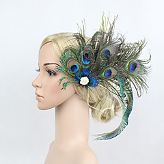 Women's Peacock Feather/Rhinestone Elasticity Headpiece-Special Occasion/Party Flowers 1 Piece Headdress Hair Band Hair Clip Green