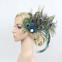 Plume Strass Alliage Casque-Occasion spéciale Fleurs Pique cheveux 1 Pièce