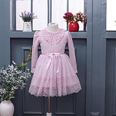 baratos Roupas de Meninas-Menina de Vestido Para Noite Casual Escola Sólido Todas as Estações Algodão Manga Longa Com Babado De Renda Rosa Azul Real