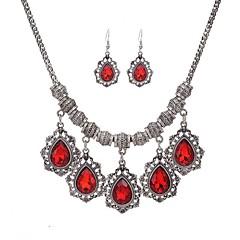 baratos Conjuntos de Bijuteria-Mulheres Conjunto de jóias - Strass Fashion Incluir Vermelho / Verde / Azul Para Festa Diário Casual