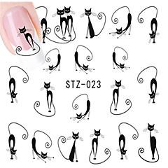 10pcs/set Hot Sale Lovely Style Nail Art Water Transfer Decals Lovely Cartoon Cute Cat Design Romantic Nail Beauty Sticker DIY Beauty Decals STZ-023